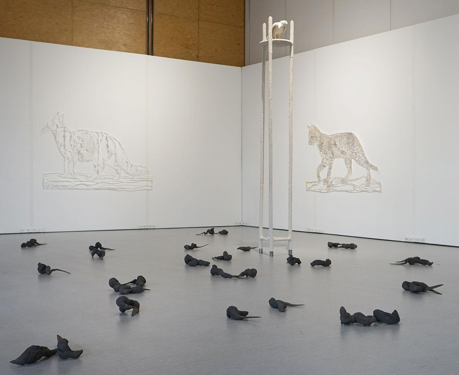 vue d'exposition <i>Hors des rets<i>, 2018, avec Yannick Vey