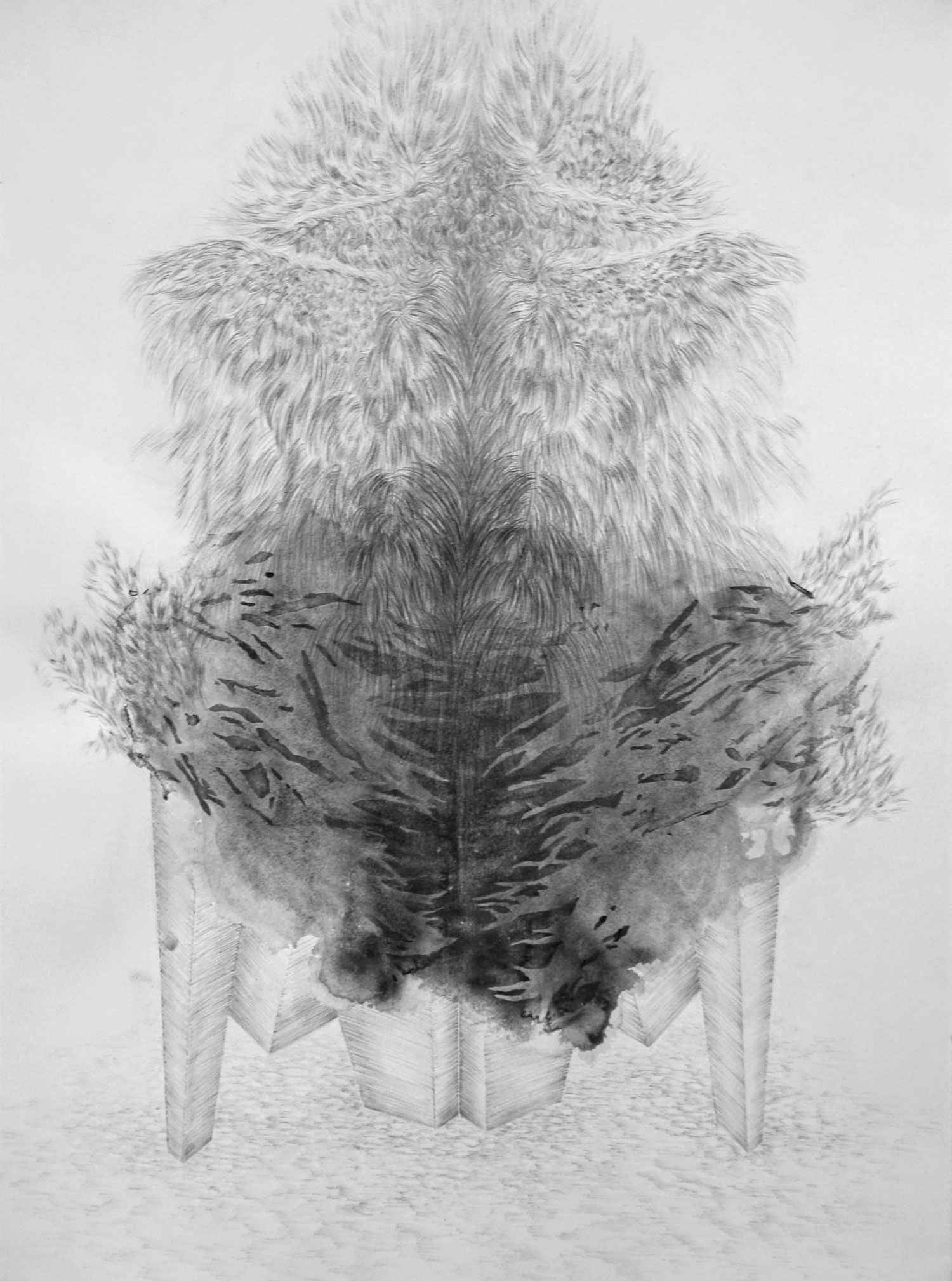 <i>autel</i>, 2018, graphite et lavis, 76x56cm