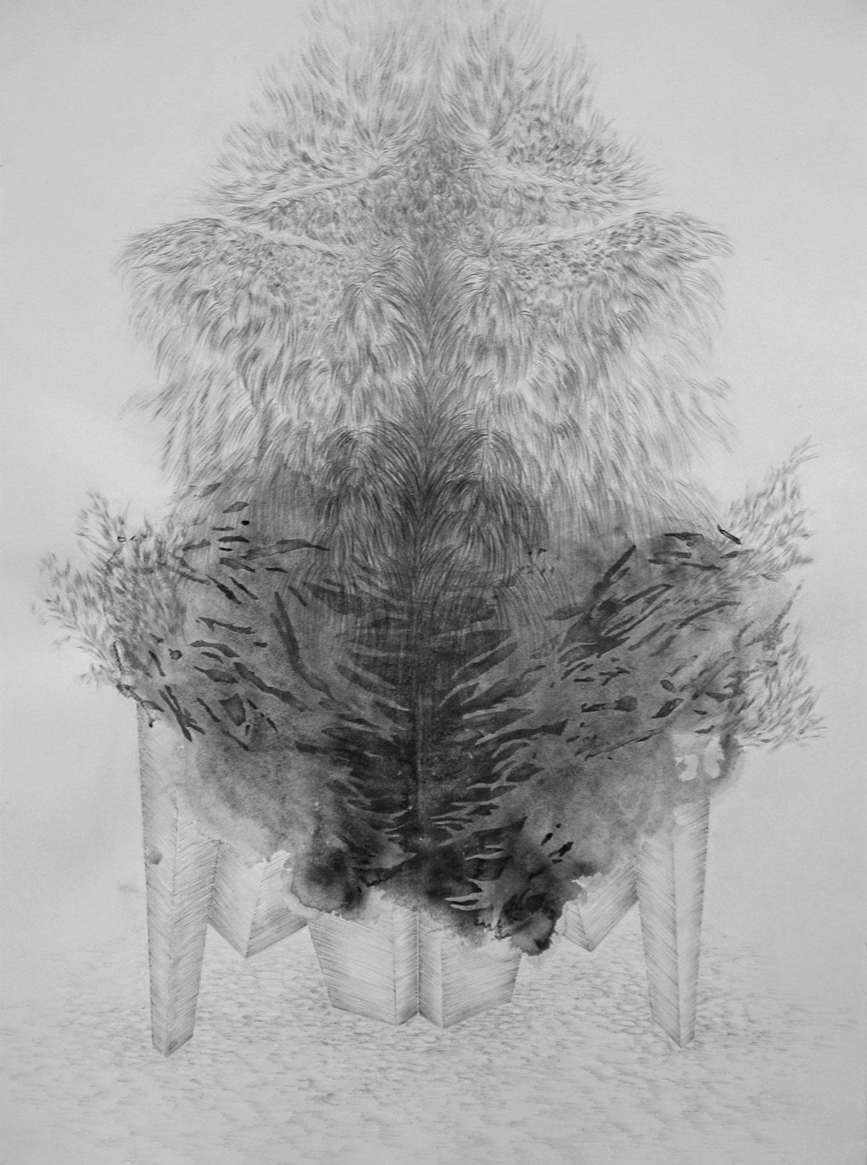 <i>Autel</i>, 2018, graphite et gouache, 80x60cm