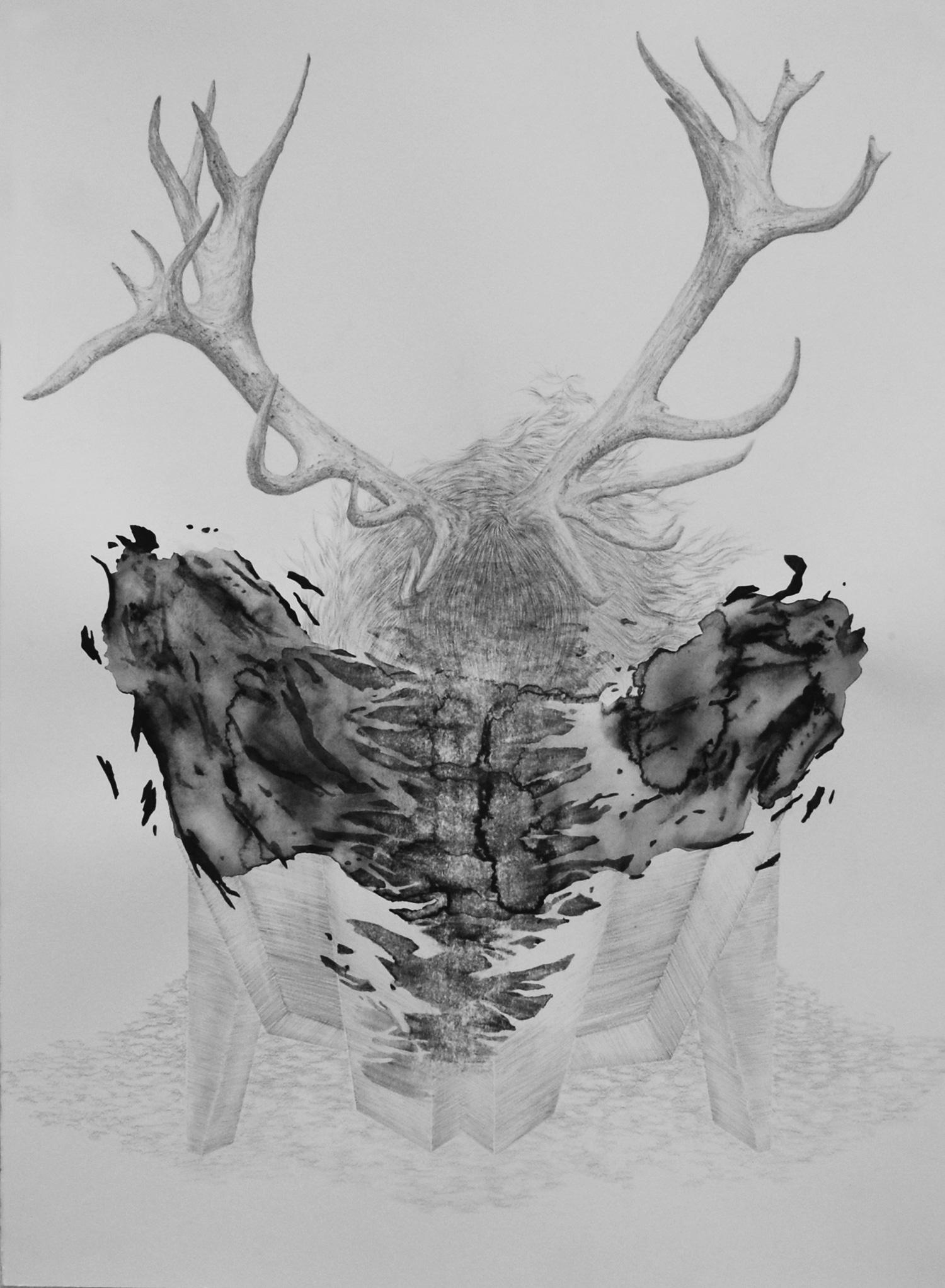 <i>L'autel</i>, 2015, graphite et gouache, 80x60cm