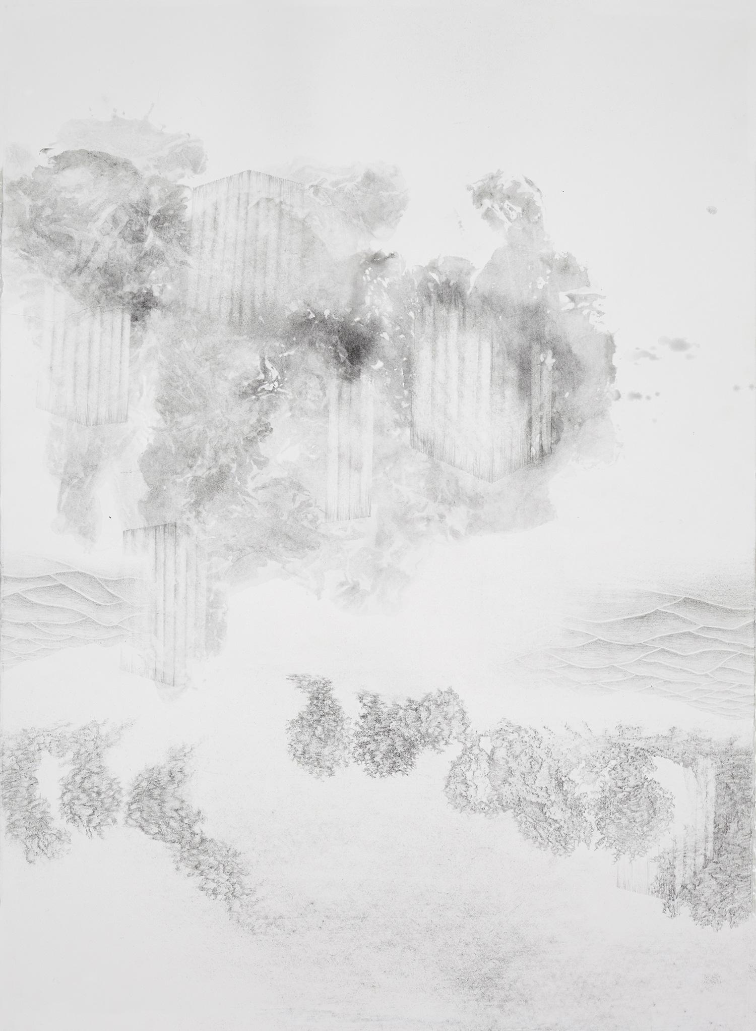 <i>cabanes toungouzes</i>, 2015, graphite et lavis, 76x56cm