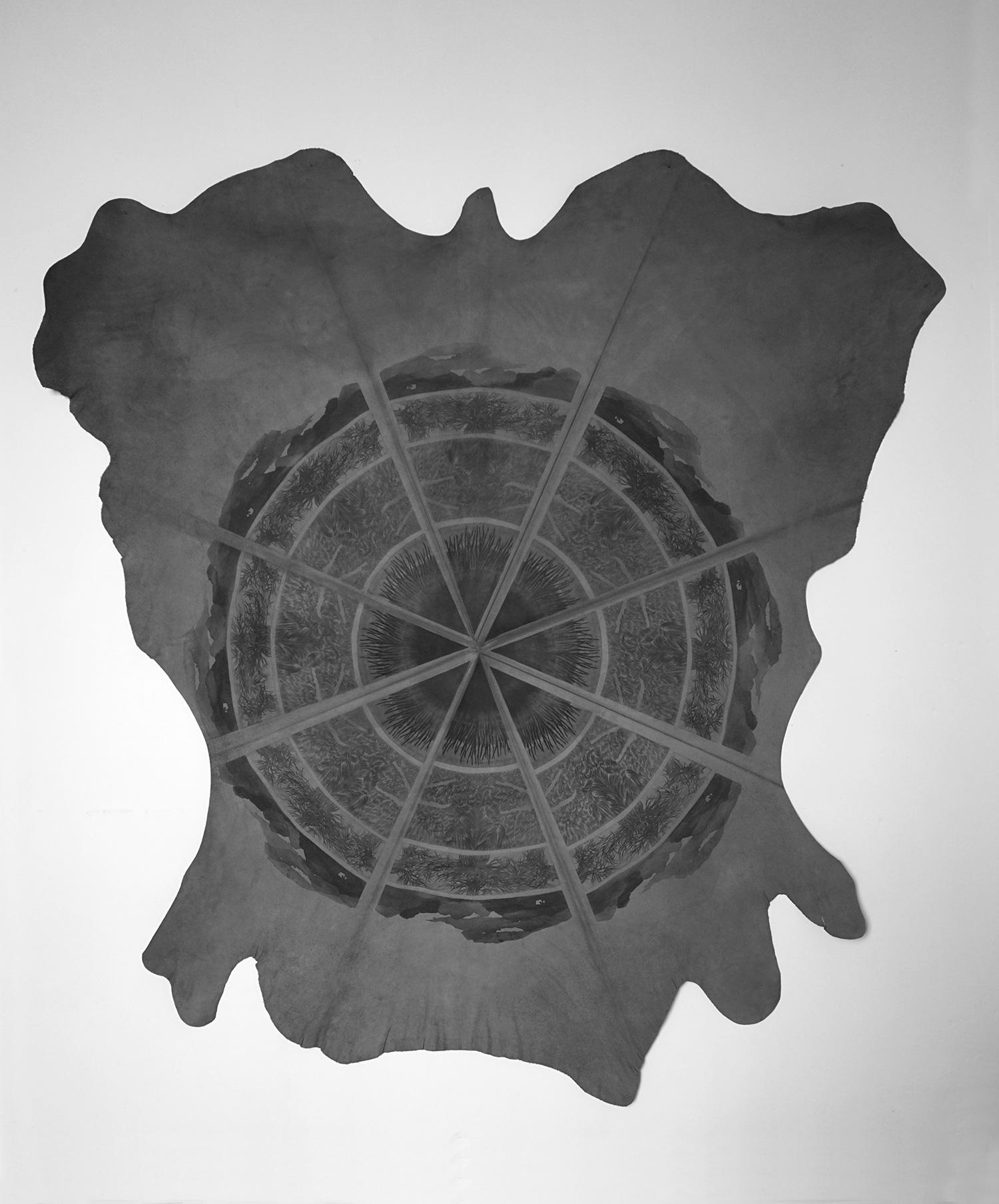<i>sans titre</i>, 2017 - pointe sèche, vernis mou et aquatinte, ensemble de 4 plaques imprimées et répétées sur peau de vachette, 190x170cm