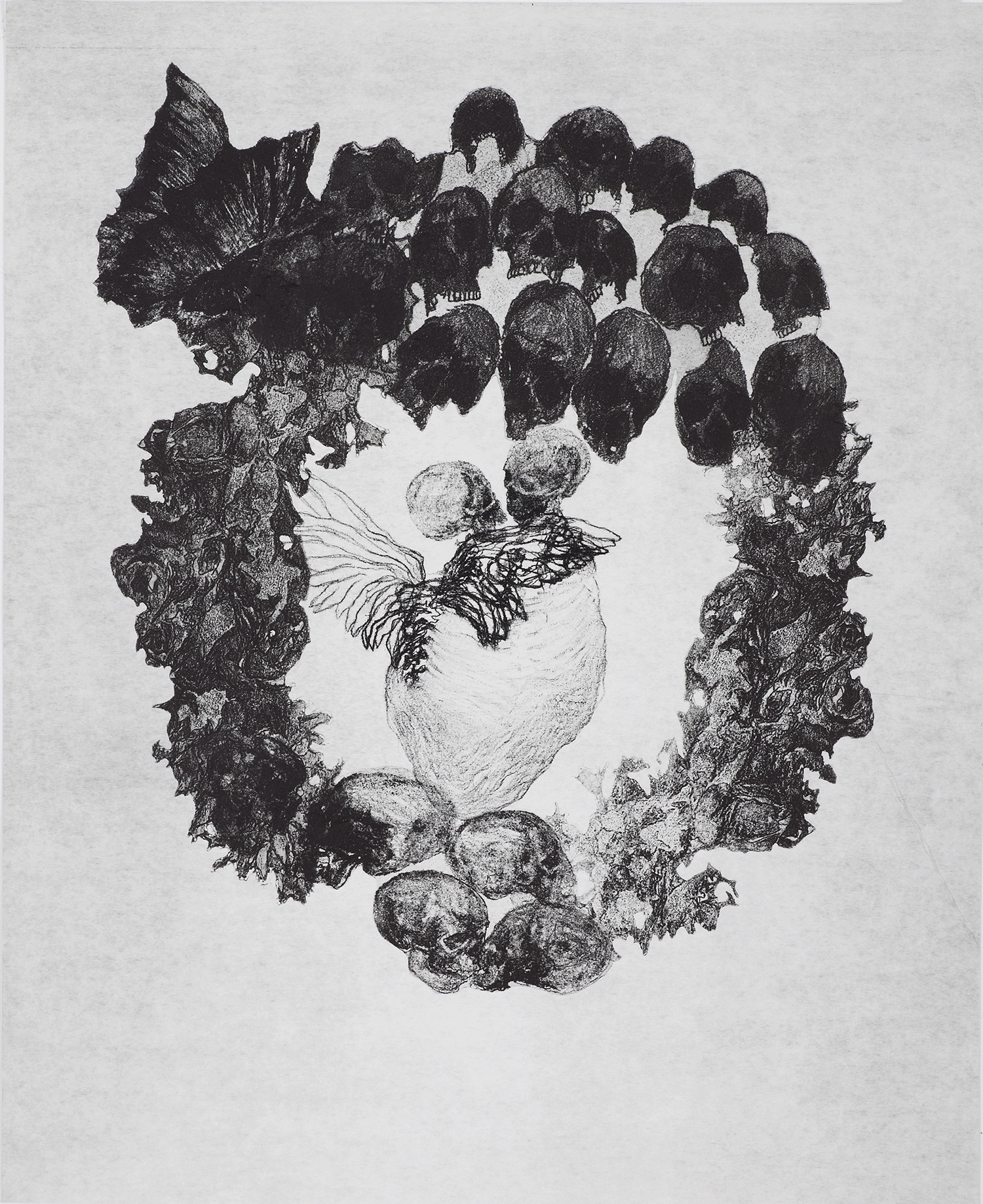 <i>le baiser</i>, 2012, vernis mou et pointe sèche, 50x40cm