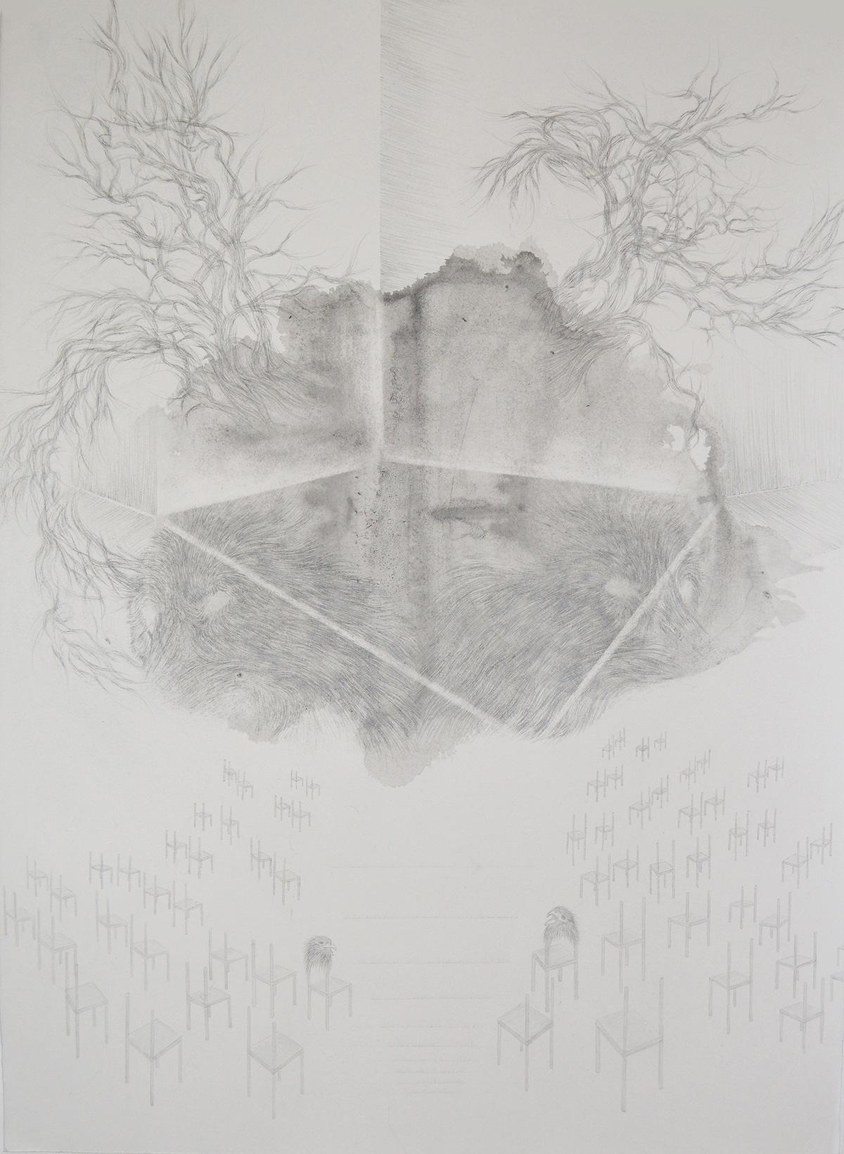 <i>Le conseil des doubles</i>, 2015, graphite et lavis, 80x60cm