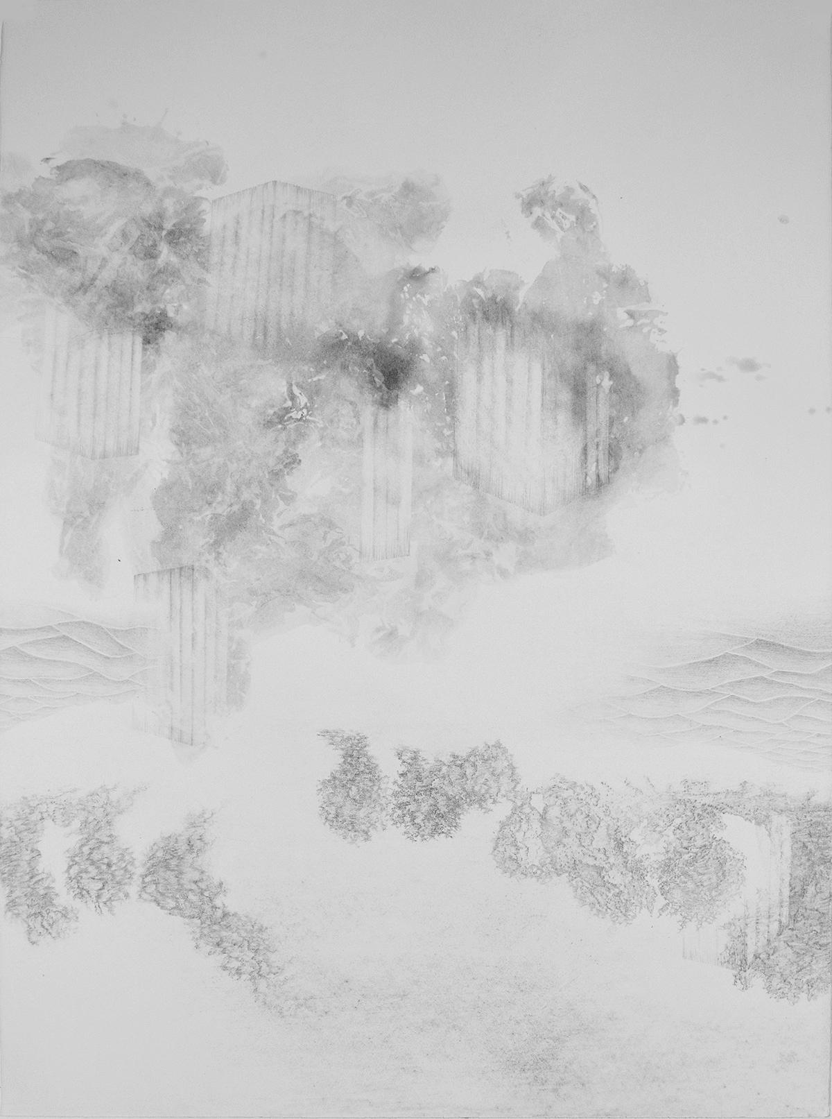 <i>Cabanes toungouzes</i>, 2015, graphite et lavis, 80x60cm