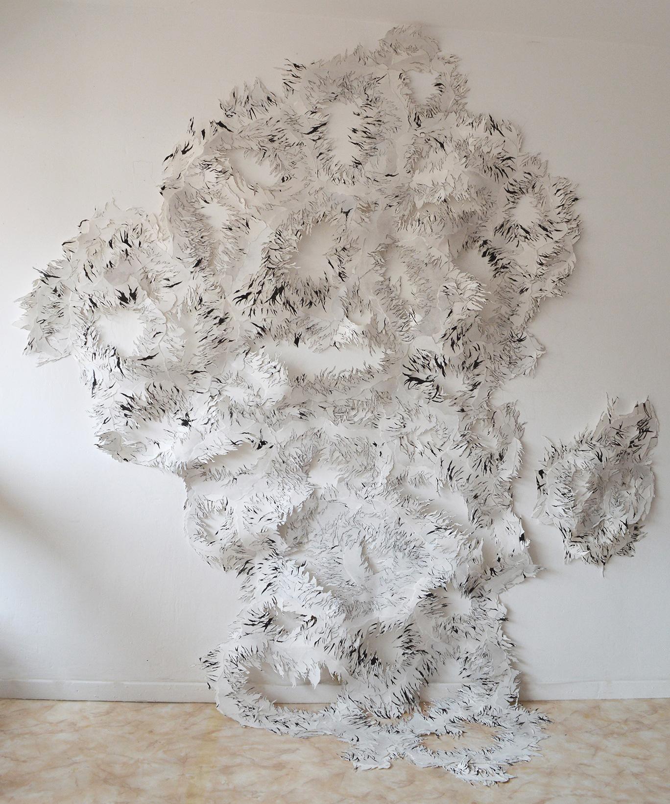 <i>Les choses blanches</i>, 2013, 300x200cm, photo d'atelier