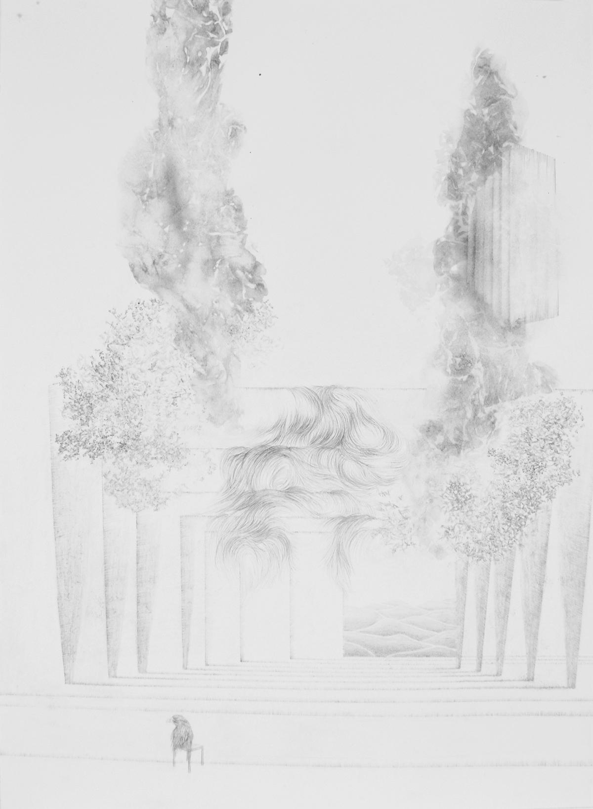 <i>L'intervalle des sables</i>, 2015, graphite et lavis, 80x60cm