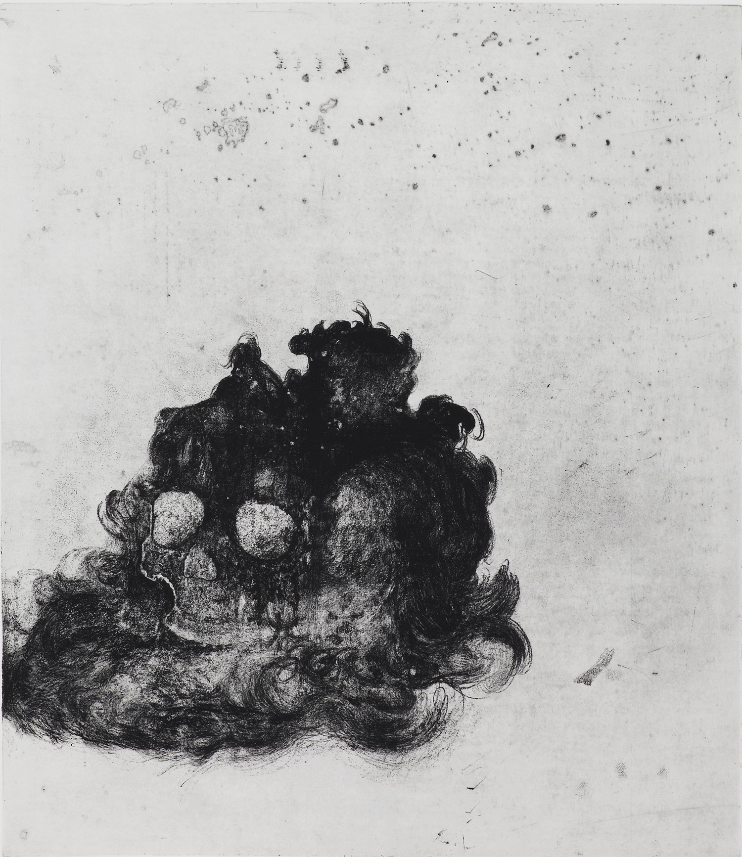 <i>méditation</i>, 2011, vernis mou et pointe sèche, 75x63cm
