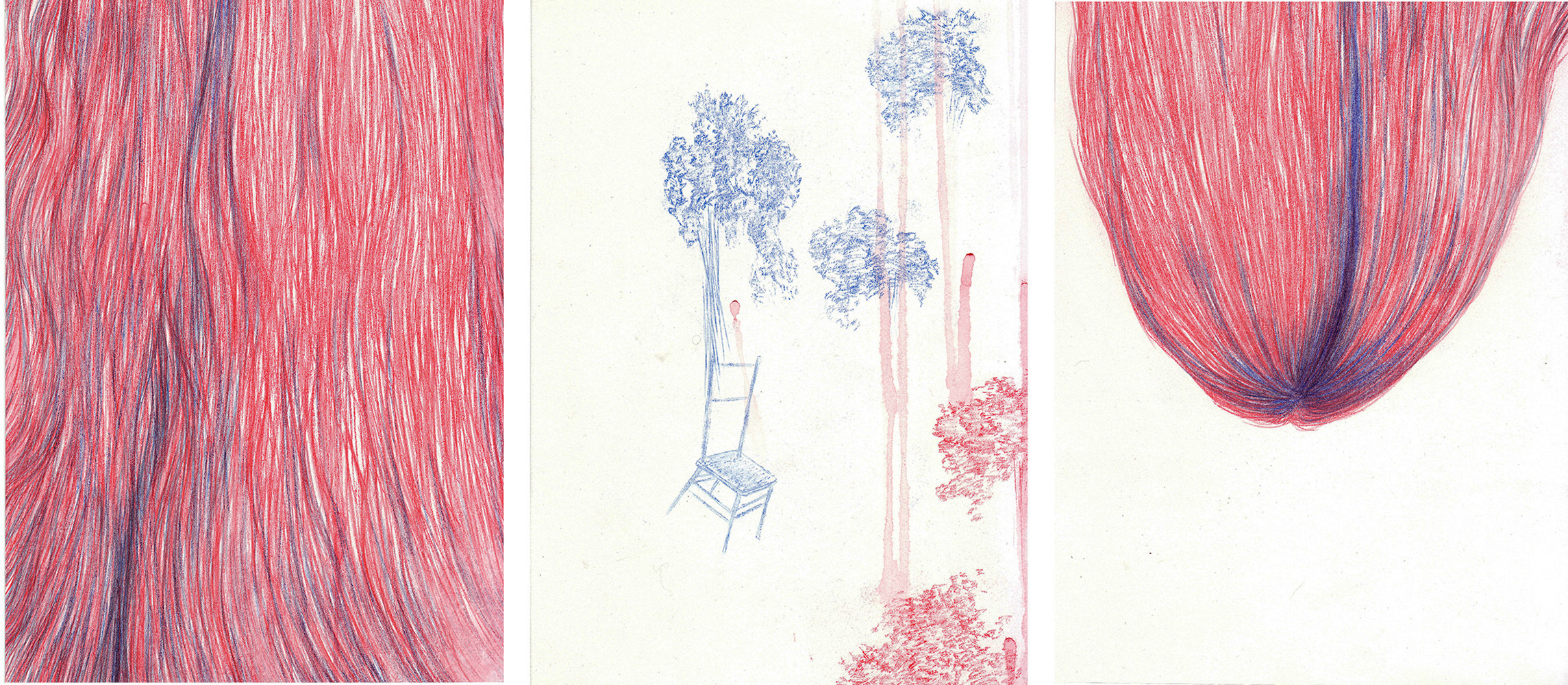 <i>Les chevelures de l'assise</i>, 2014, triptyque, 28x63cm