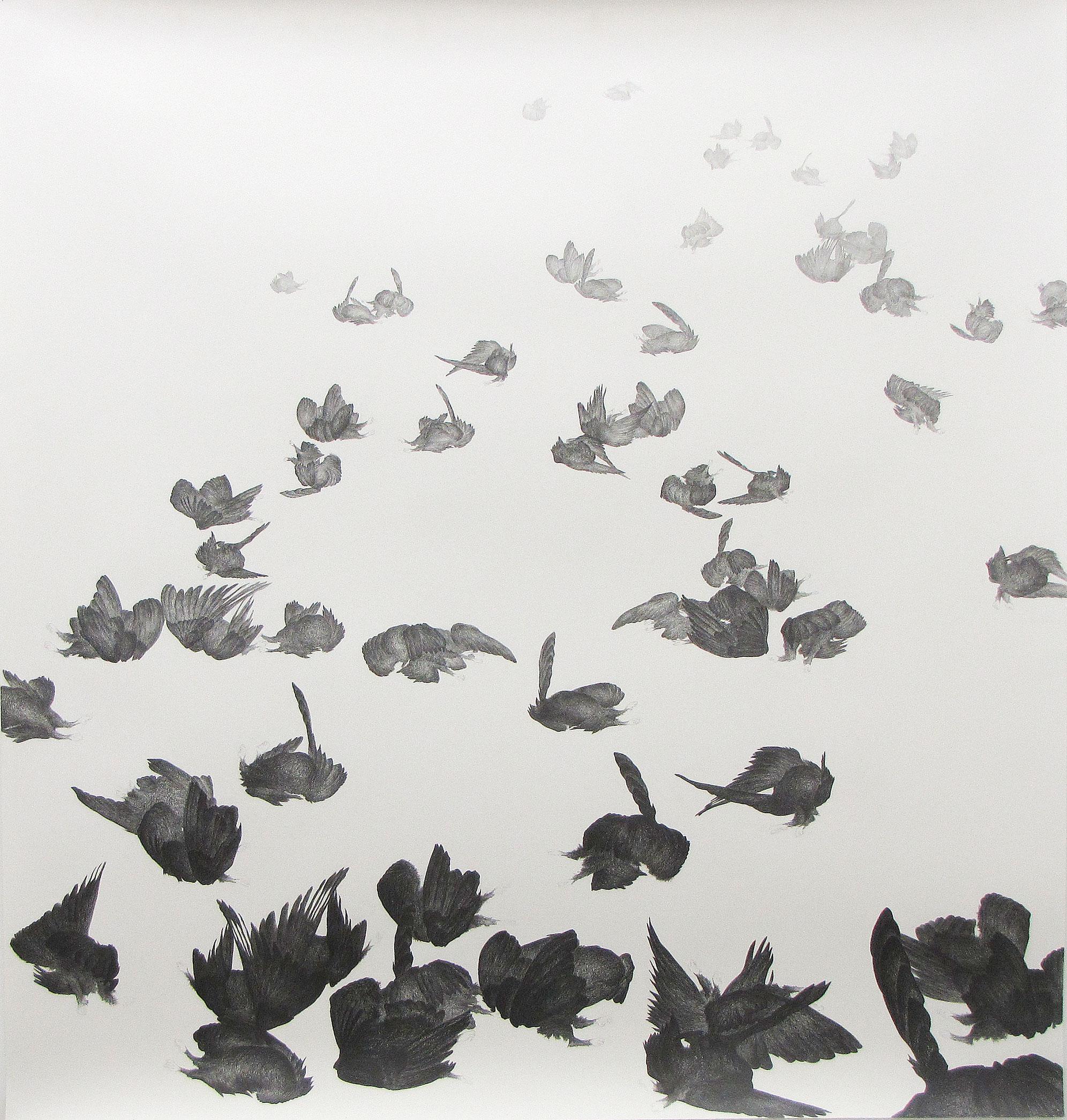 <i>zone affectée</i>, 2009, graphite, 160x150cm